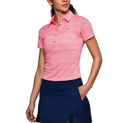 NWT$65 Under Armour Zinger Novelty Women#x27;s Golf SS Polo Striped Pink 1272340 $32.00