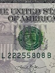 2013 $5 ERROR OVER INKED GREEN SEAL FANCY SERIAL NUMBER 1×222 amp; 2× PAIRS $55.00