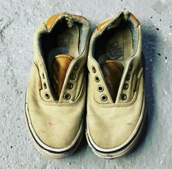 Preowned Worn Womens Vans Sneakers Tan Canvas Leather Well Sz 6.5 Preloved $45.00