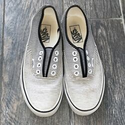 Preowned Worn Womens Vans Sneakers Black White Striped Well Sz 6.5 Preloved $35.00