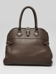 Hermes 35cm Cacao Clemence Leather Palladium Plated Atlas Bag $2620.00