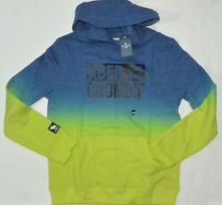 Boy#x27;s Abercrombie Kids 11 12 Hoodie Blue Green Dip Pull Over NWT $29.99