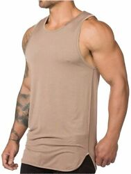 Magiftbox Mens Extended Scoop Workout Stringer Tank Tops Gym Khaki Size Small $9.99