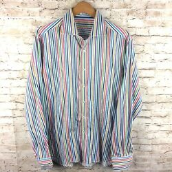 Bugatchi Uomo Mens XL? White Multi Color Striped Shaped Fit Button Up Shirt $18.00