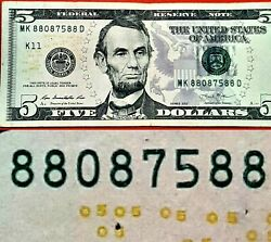 2013 $5 VERY FANCY BOOKEND SERIAL NUMBER quot;88087588quot; 5 × 88888 $25.00