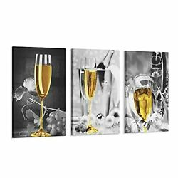 3 Pcs Wine Wall Art for Kitchen Decor Black and White Canvas w Wood Inner Frame $86.10