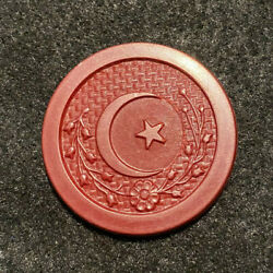 Red Antique Crescent Moon Star Poker Chip Clay Vintage Rare Old Gambling Game $4.99