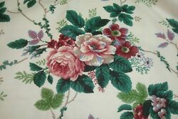3.22 yds WAVERLY Fabric Pleasant Valley Floral Drapery cranberry 56quot; x 116quot; BTP $29.99