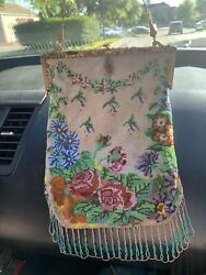 Antique Glass and Seed Micro Beaded Purse with Fancy Frame $100.00