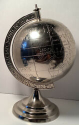 """Nickel Plated Etched World Decorative Globe Tabletop 13 1 2"""" Tall $139.00"""