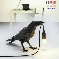 Resin Bird Table Lamps Crow LED Desk Lamp Bedroom Fixture Sconce US Plug $25.98