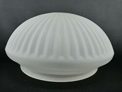 """VINTAGE Shade Globe Art Deco Ribbed LIGHT Glass CEILING Smoked Frosted 7"""" $24.99"""