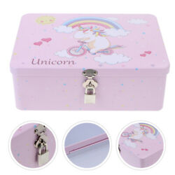 1 Set of Vintage Box Tinplate Container with Lock Storage Case for Desktop Table $20.36