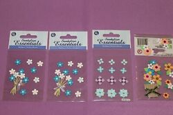Sandylion Essentials LOT of 4 Sealed Packages of Blue Flowers Stickers $1.04