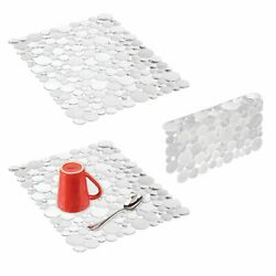 mDesign Plastic Kitchen Sink Protector Set Bubble Design Set of 3 Clear $17.99