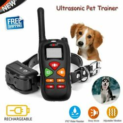 Anti Bark Dog Training Shock Collar Waterproof Rechargeable Pet Trainer Remote $18.99
