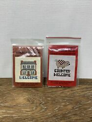 2 SpareTime Mini Beginner Counted Cross Stitch Kits Vintage House amp; Pig Welcome $7.36