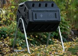 Garden Compost Tumbler Dual 2 Bin Chamber Composter Leaves Mulch Waste Container $123.89