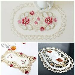 Embroidered Lace Tablecloth Floral Table Runner Doily Wedding Party Satin Decor $9.44
