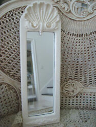 Shabby Vintage Painted Antique White French Shell Mirror $199.99