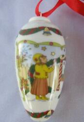 Hutschenreuther 2007 Christmas KIDS GARLAND Porcelain Cone Ornament Germany box $15.00