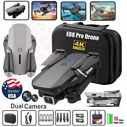 E88 Pro WIFI FPV Quadcopter With Fordable HD 4K Wide Angle Dual Camera Drone RC $47.99