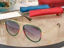 Gucci GG0062S 003 Aviator Sunglasses in Red Green and Grey Lens 10 $99.99