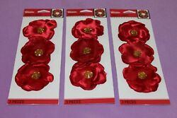 Jolee#x27;s Boutique LOT of 3 Sealed Packs of Holiday Fabric Gem Flowers Stickers $4.19