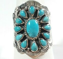 925 STERLING SILVER INTRICATE ETCHED FLOWER BLUE TURQUOISE SIZE 10 RING $33.99