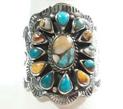 925 STERLING INTRICATELY ETCHED FLOWER SPINY OYSTER TURQUOISE SIZE 11 RING 7.8gr $33.99