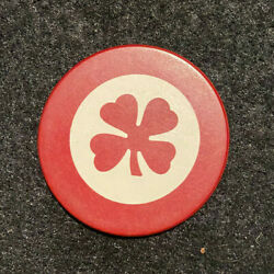 Red Antique Clover Poker Chip Clay Vintage Rare Old Gambling Four Leaf 4 Lucky $6.49