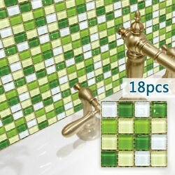 18PCS Simulation Mosaic PVC Tile Wall Stickers For Kitchen Bathroom Waterproof $11.06