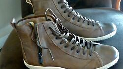 John Varvatos Star High Top Mens 13 US Clay Brown Leather Shoes Lace Zip Up $170.00