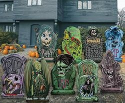 9 Halloween Yard Stakes Scary Tombstones Cemetery Decoration Large Outdoor Props