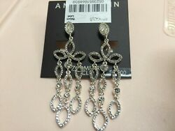 Anne Klein Crystal Chandelier Clip on Silver Plated Earrings 2 5 8quot; New N245 $7.99
