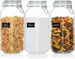 78oz Glass Food Storage Jars w Airtight Clamp Lids3 Pack Large Kitchen Canister $28.90
