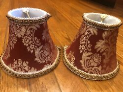 Red cream Damask small lamp shades set of 2 5quot;H x 6quot;W FREE SHIPPING $24.99