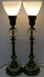 Pair Of Vintage Mid Century Modern Table Lamps Brass Torchiere Milk Glass Shades $155.00