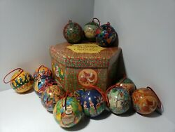 VINTAGE Set of 12 Days of Christmas Ornaments Decoupage in Hexagon Box $29.92