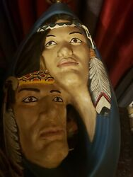 Rare Vintage American Indian Couple Hand Made Painted 2 Ft 3D Art Table Lamp $89.95