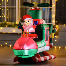 3.5#x27; Light Up Santa Claus Helicopter Outdoor LED Lit Christmas Yard Inflatable $69.33