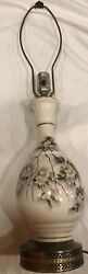 """Beautiful Vintage Hand Painted Porcelain Lamp With Brass Base 26"""" Works $35.50"""