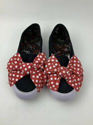 Minnie Mouse Girls Canvas Shoes With Polka Dot Bow Dress Up Shoes PreLoved $14.00