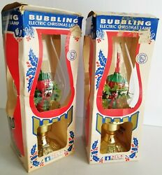 Vintage Pair ACLA Electric BUBBLING Christmas Lamp GLASS GLOBE Lantern SEE VIDEO $59.95