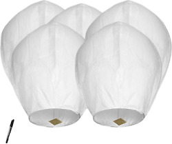 White Paper Chinese Lanterns for Birthday Wedding Party 5pack Biodegradable $16.35