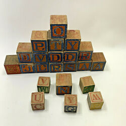 Child#x27;s Antique Vintage Wooden Blocks Toy Mixed Lot 22 $24.99
