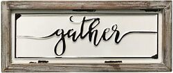DeliDecor Gather 12 X 5in Wooden Signs Wall Decor Rustic Embossed Retro Metal $25.00