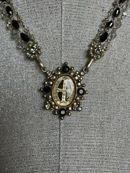 VIRGINS SAINTS AND ANGELS DOUBLE STRAND CRYSTAL AND BLACK ONYX PENDANT NWOT $349.00