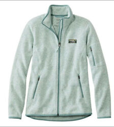LL Bean Womens Sweater Fleece Jacket Zip Up Mint Green Size Large Preowned $55.00