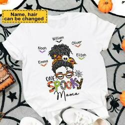 One Spooky Mom Kids Name Shirt Funny Gift For Family And Friends Women Tee $14.99